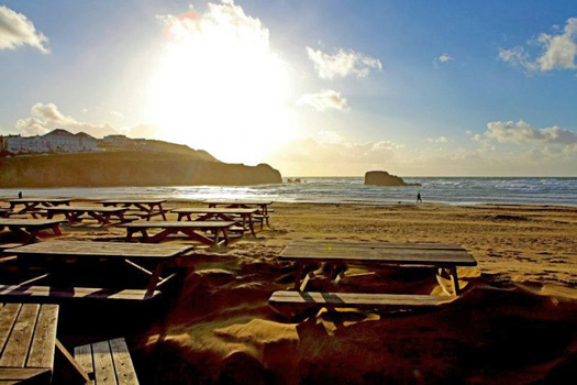 Sunset on beautiful Perranporth Beach. Photo by the Watering Hole