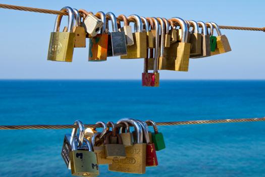 Love locks in Maspalomas, Canary Islands