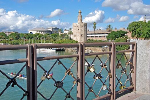 Love padlocks in Seville, Spain