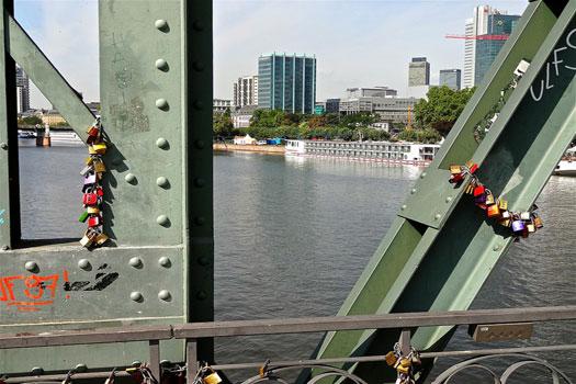 Love locks on the Eiserner Steg Bridge in Frankfurt
