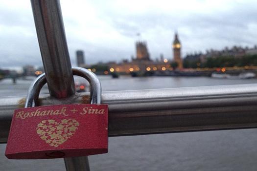 Love lock on the Millennium Bridge in London