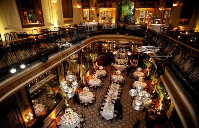 Dinner from above at the Confeitaria Colombo.