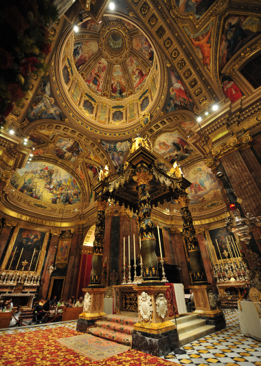 The ornate and golden ceiling of St George's Basilica, Gozo.