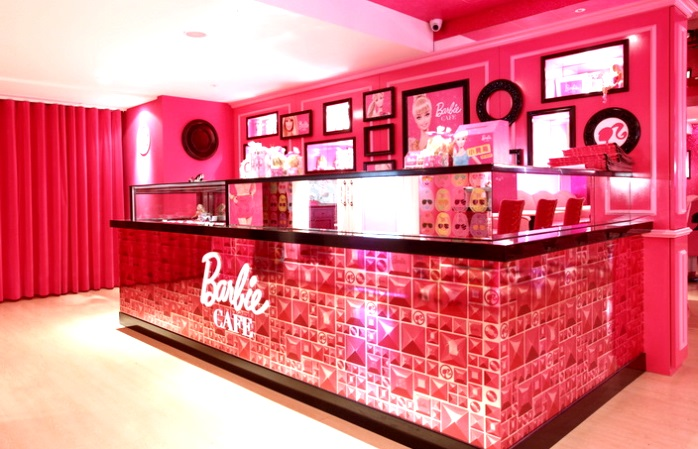 The pink decor at the Barbie cafe.