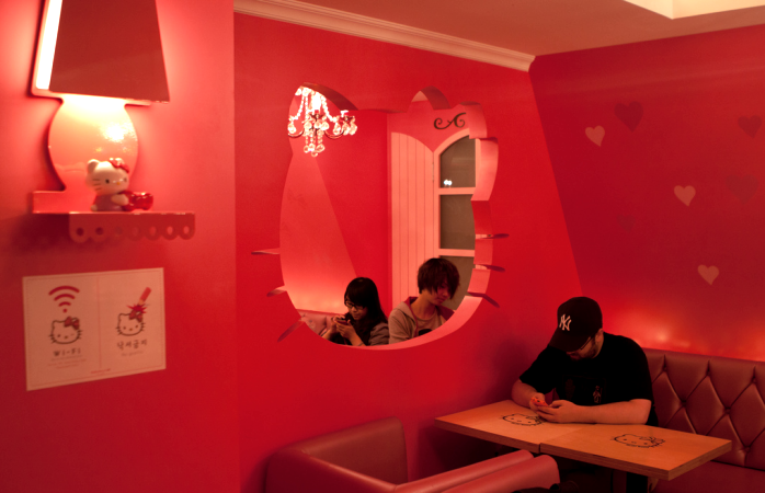 Customers hang out at the Hello Kitty Cafe.