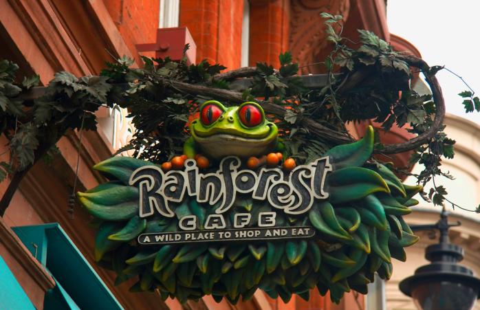 The sign outside the Rainforest Café.