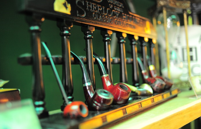 A row of pipes at the Sherlock cafe.