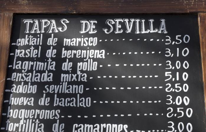 A Tapas menu in Seville.