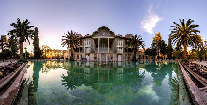 A wide landscape shot of the beautiful Eram Garden in Shiraz.