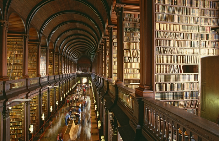 The arched central room of the Trinity College Library, Dublin.