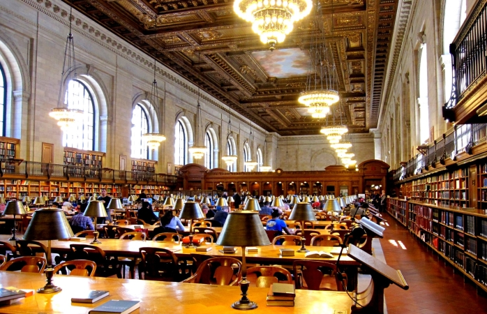 Silence in the NYC Public Library study room.