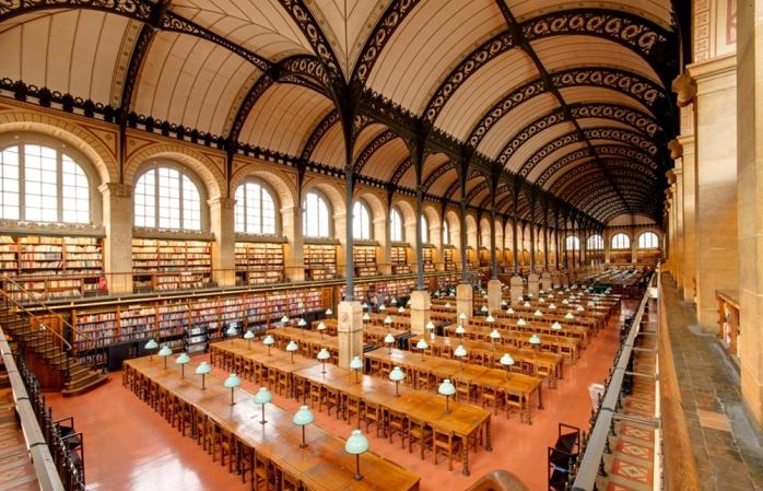 An empty study hall at the Bibliothèque Sainte Geneviève, Paris.