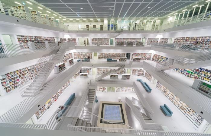 The bright white centre of the Stuttgart City Library.