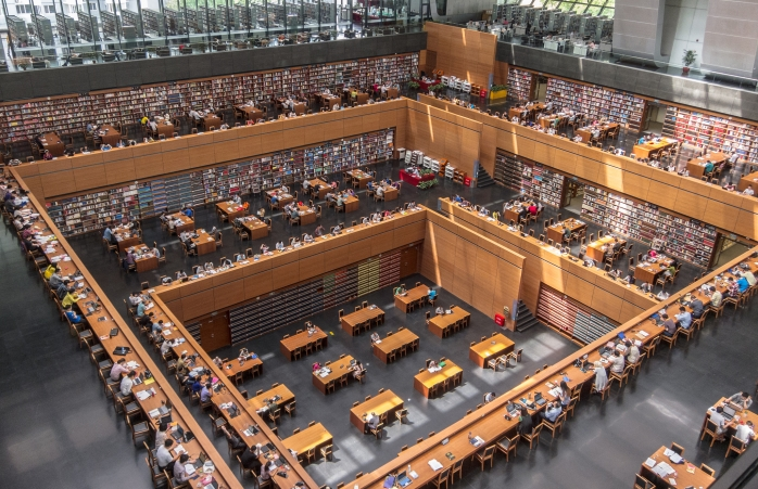 The crowded study hall in The National Library of China, Beijing.