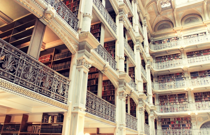 The multi-storied interior to Baltimore's public library.