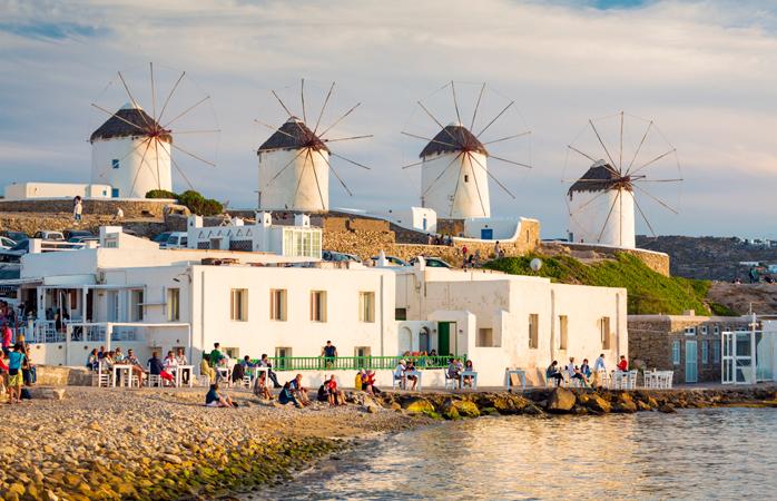 Windmills on the Island of Mykonos.