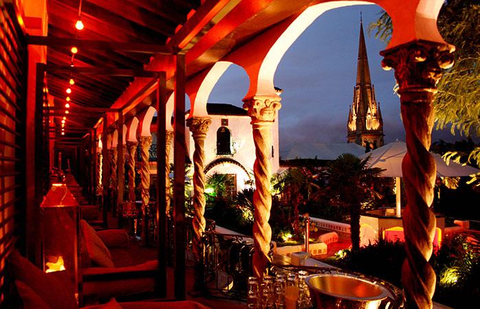 The gorgeous veranda at the Kensington Roof Garden, London.