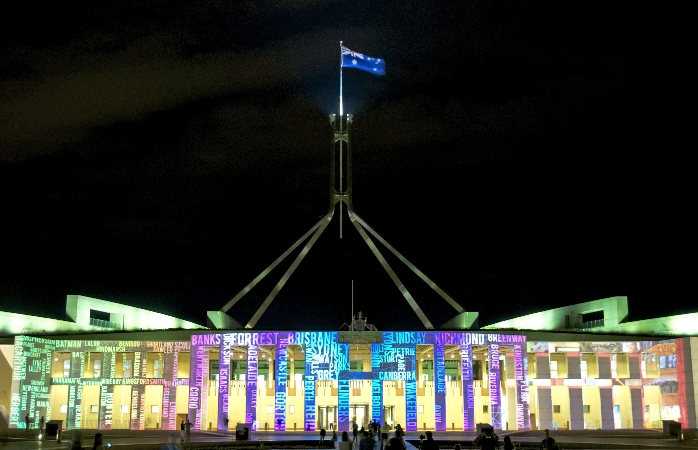 Colourful light display on Australia's New Parliament House, Canberra.