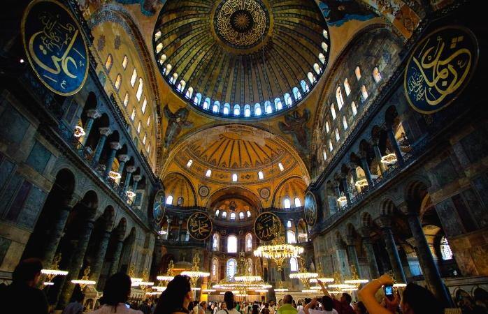 Visitors inside the Hagia Sophia museum.