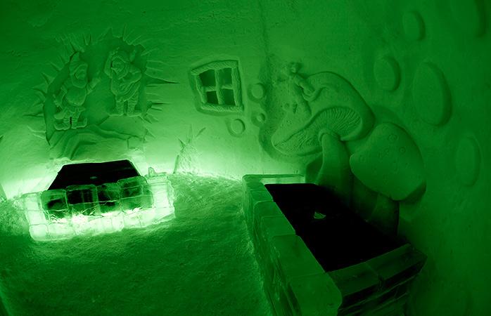 A neon-lit suite in the Snow Village, Kittilä, Finland.