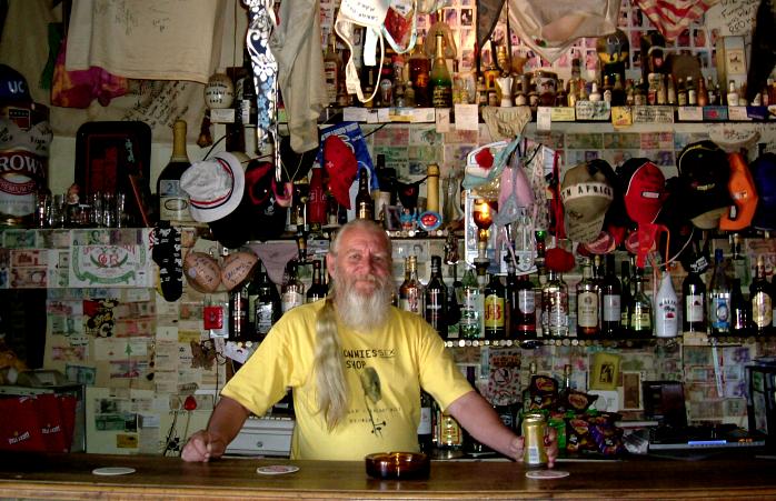 Ronnie behind the bar.