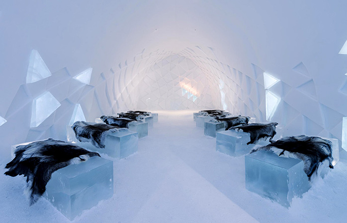 Wrap up warm in the Icehotel shared dorm rooms.