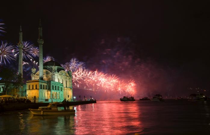 Ortaköy's skyline lit-up by fireworks.
