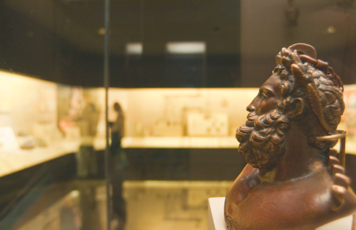 A bronze Anatolian head sculpture.