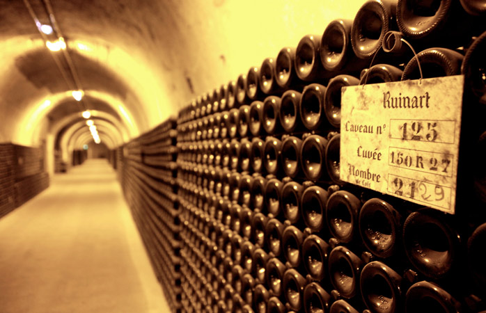 Endless cellars at Ruinart, home to the oldest bottles of Champagne
