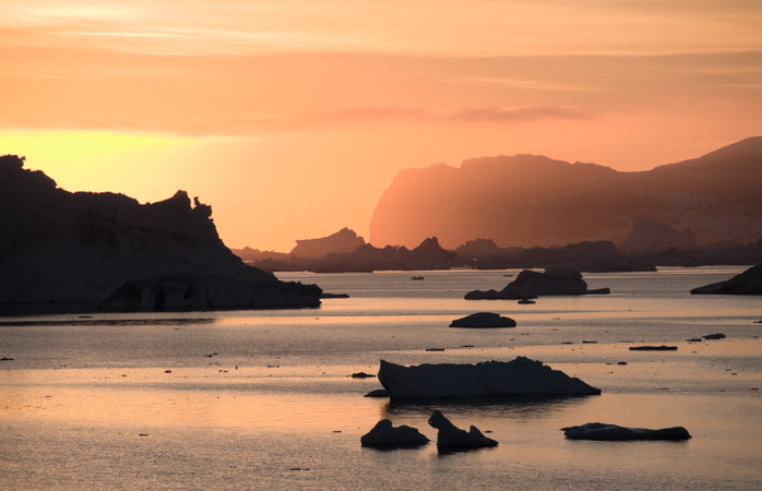 Just you, the floating glaciers, and the most silent sunrise across the Antarctic Sound