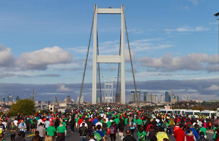 Istanbul's Marathon across the Bosphorous Bridge, connecting Europe and Asia