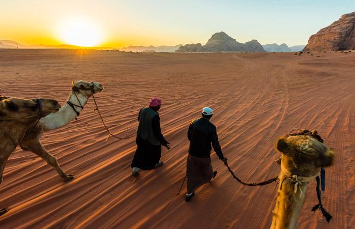 Experience Wadi Rum and it's fiery desert sunrise