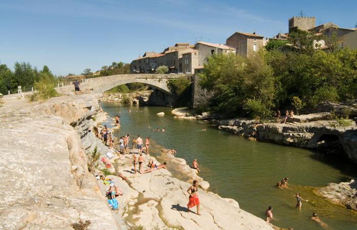 Splashing around in the Orbieu River in Corbières