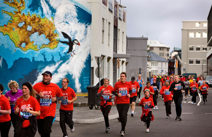 Running the marathon through Reykjavik's city centre