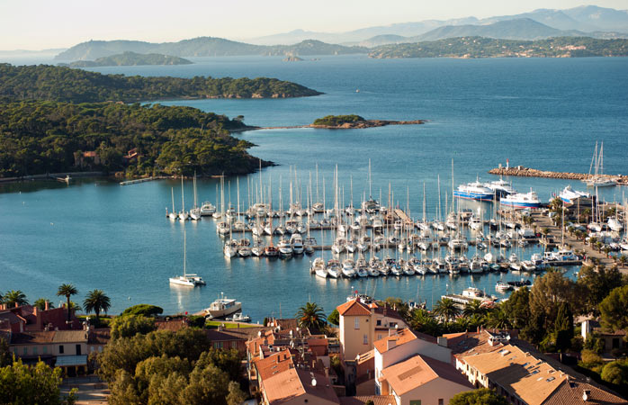 What could be better than a fresh glass of rosé in the port of Porquerolles?
