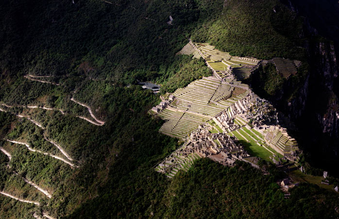 Bird's eye view of Machu Picchu at sunrise