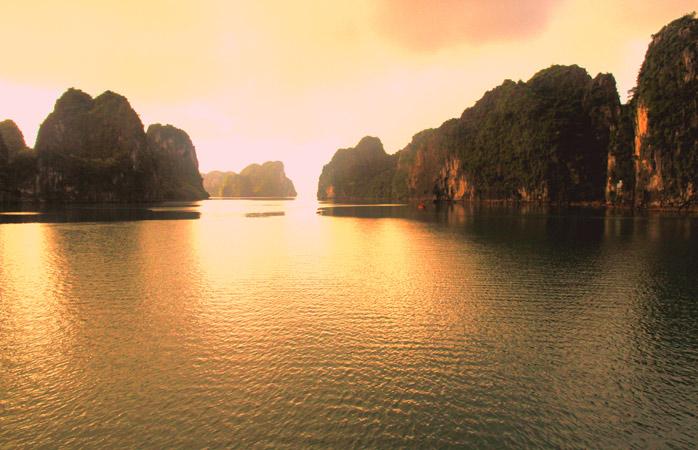 Shadows playing hide-and-seek in Ha Long Bay