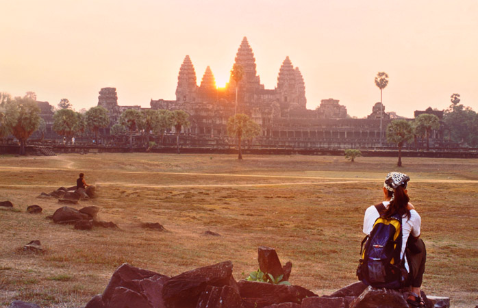 Away from the crowd, admire Angkor Wat bathed in the sun's first rays