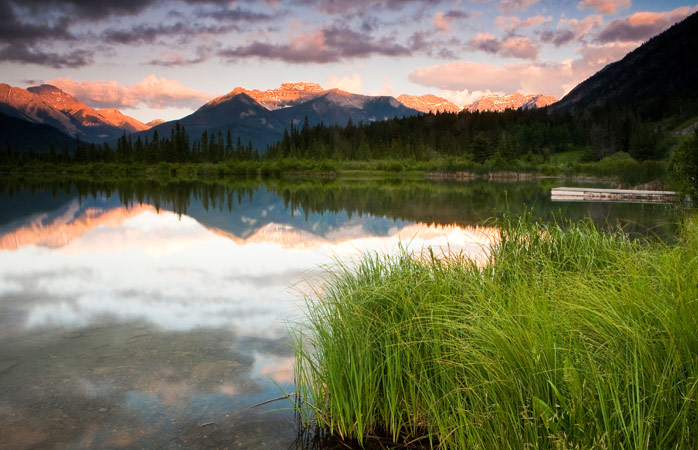 The mirror-like sunrise over the Vermilion Lakes