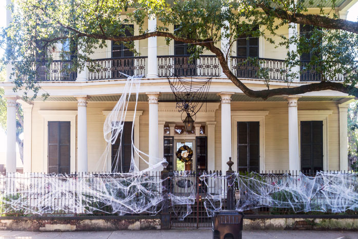 Soak up the southern-style architecture of homes and hotels in New Orleans - obviously decorated for Halloween