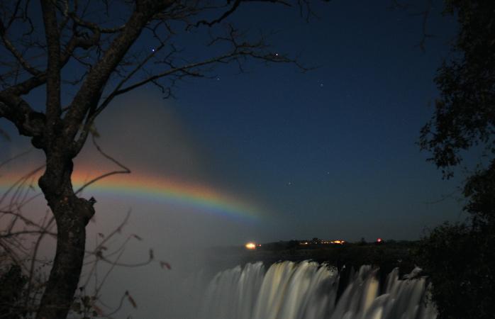 A moonbow at Victoria Falls