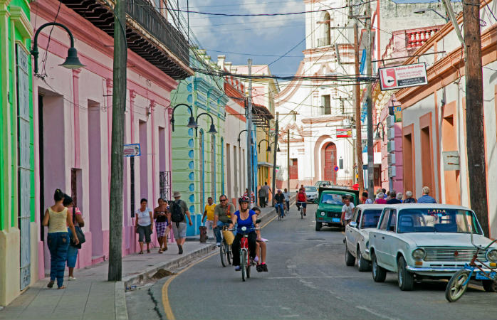 Camagüey, a UNESCO world heritage site whose streets are lined with pastel coloured houses