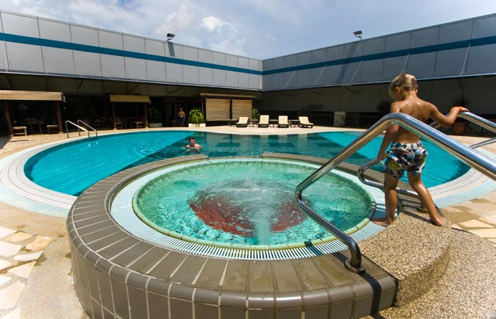 Changi Airport's pool. Enjoy a dip while you wait