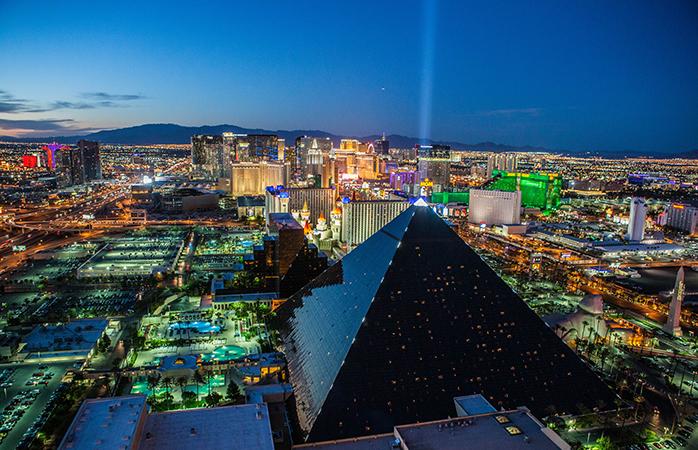 An illuminated Las Vegas Strip