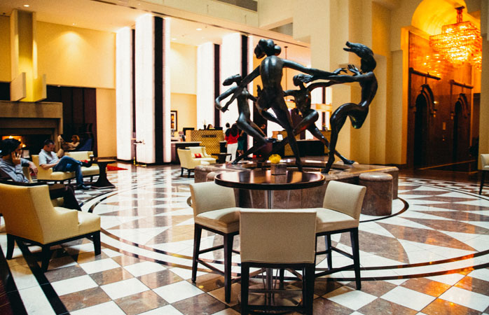 Art in the lobby at Marriott which also offers impressively large rooms