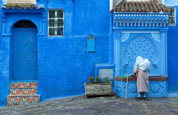 Walking through a sea of blue in Chefchaouen