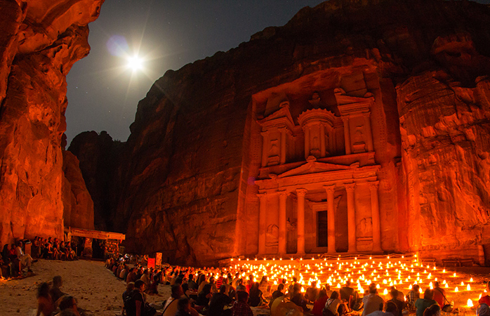 A night by the temple side at Petra, Jordan