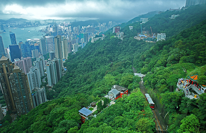 The great green heights of Hong Kong and the Peak Tram