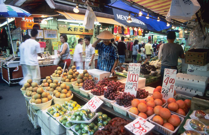 A mouthwatering selection of fresh fruit and vegetables at Tokyo's Ameya Yokochō market
