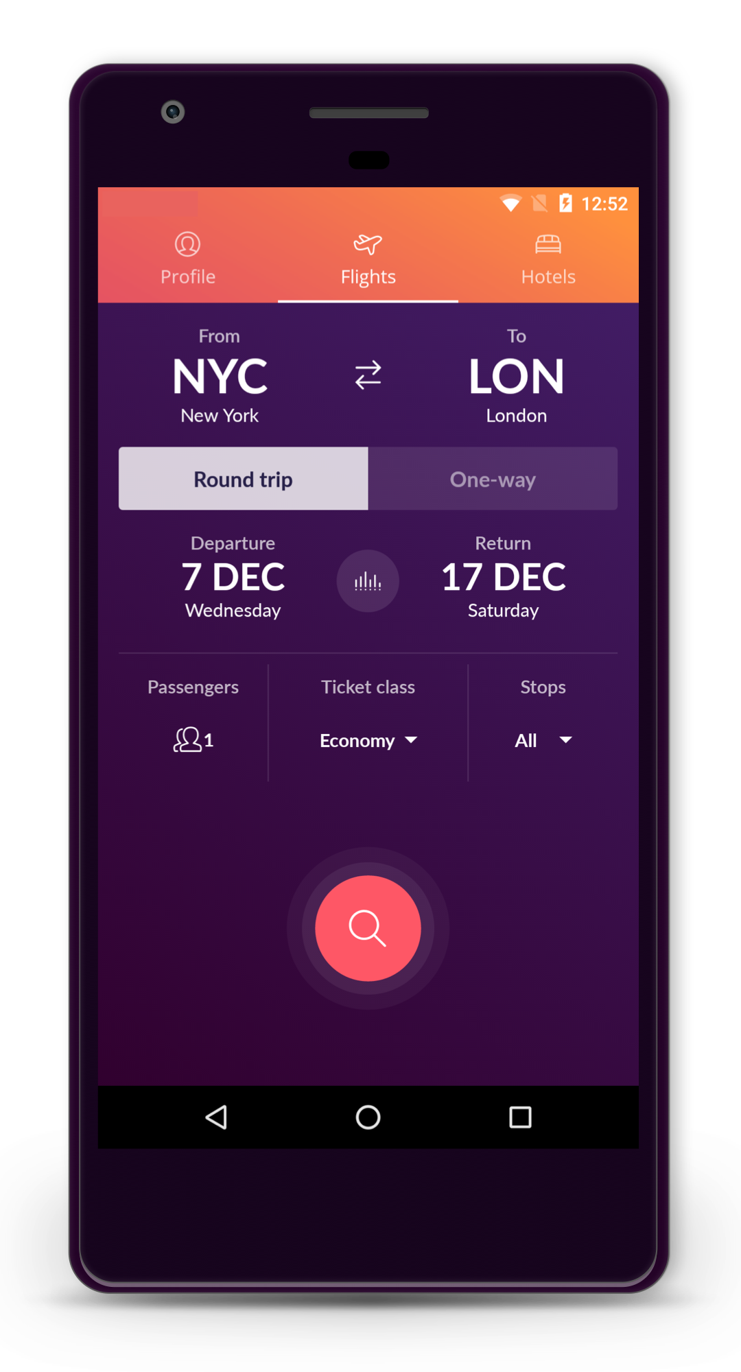 A beautifully simple flight search